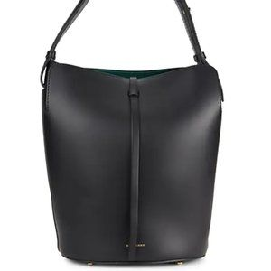 Burberry Black Leather Logo Bucket Bag w/ Pouch
